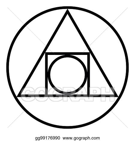 Vector Illustration The Squared Circle Alchemical Glyph And