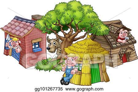Clip Art Vector - The three little pigs fairytale  Stock EPS