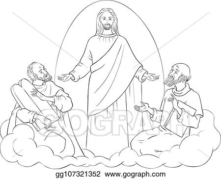 Vector Illustration - The transfiguration of jesus christ with ...