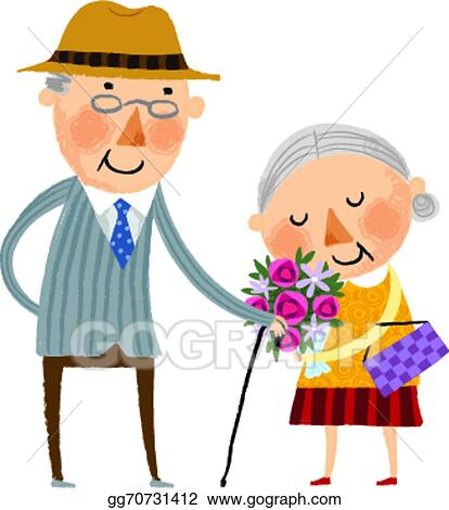 eps vector the view of old couple stock clipart illustration rh gograph com happy old couple clipart happy old couple clipart