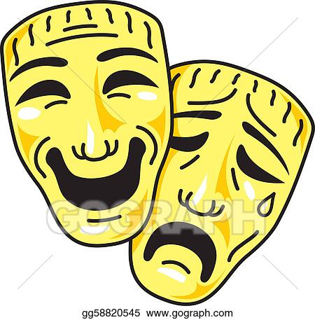 vector stock theatre comedy and tragedy masks stock clip art rh gograph com Comedy and Tragedy Masks Drawing Comedy Tragedy Yin Yang Tattoo
