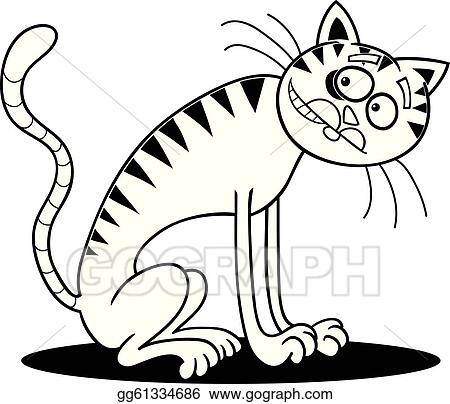 Thin Cat For Coloring Book