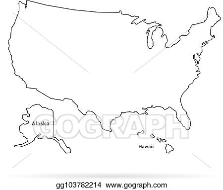 eps vector thin line usa map with other territories and shadow Map of USA with Alaska and Hawaii thin line usa map with other territories and shadow