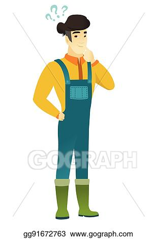vector illustration thinking farmer with question marks eps