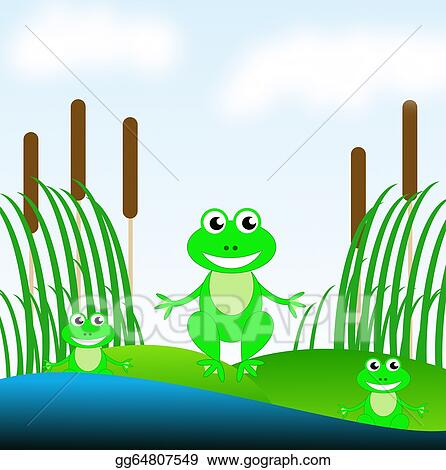 Three Amusing Green Frogs On A Grass In Pond