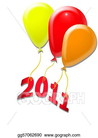 three balloons with new year