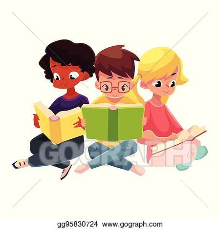Vector Illustration Three Children Boys And Girls Reading Books