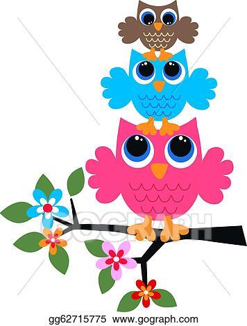 Stock Illustration - Three colorful owls. Clip Art ...