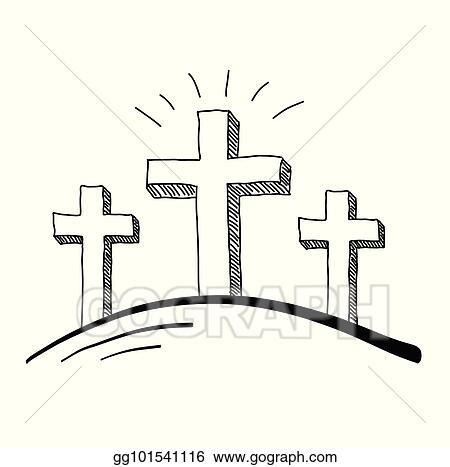 Vector Art Three Crosses Doodle Eps Clipart Gg101541116