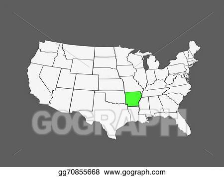 Arkansas On Usa Map.Stock Illustration Three Dimensional Map Of Arkansas Usa Stock