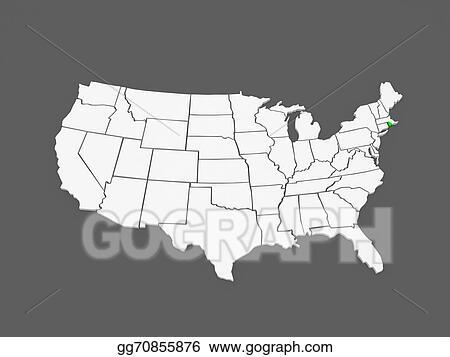 Stock Illustration - Three-dimensional map of rhode island. usa ...
