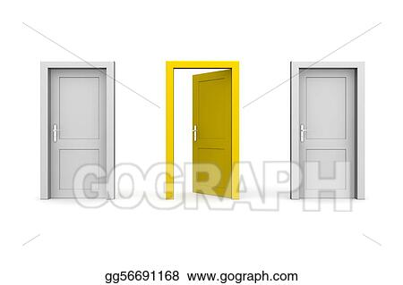 Closed Door Drawing drawing - three doors - grey and yellow - two closed, one open
