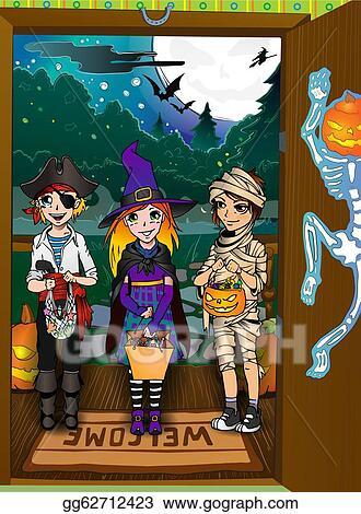 Three kids on the doorstep. Halloween tricks and treats & Vector Clipart - Three kids on the doorstep. halloween tricks and ...