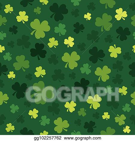 Clip Art Vector Three Leaf Clover Seamless Background 4 Stock