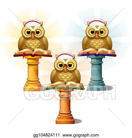 Clip Art Vector - Three statues of owls with books on