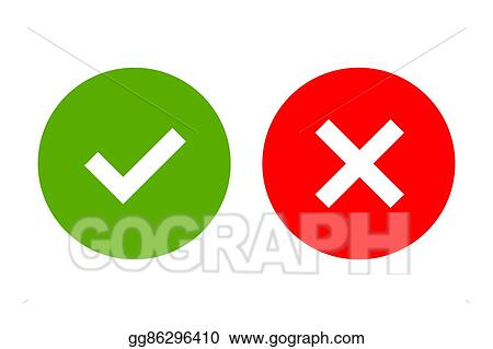 Vector Stock Tick And Cross Signs Simple Clipart Illustration