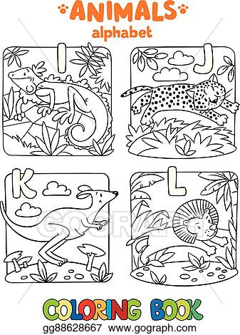 Vektorkunst Tiere Alphabet Oder Abc Ausmalbilder Eps