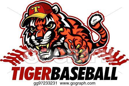 Tiger Baseball Player - Vector Clipart Tiger