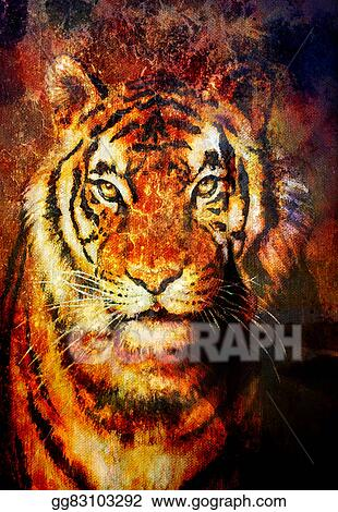 Tiger Collage On Color Abstract Background Rust Structure Wildlife Animals Computer