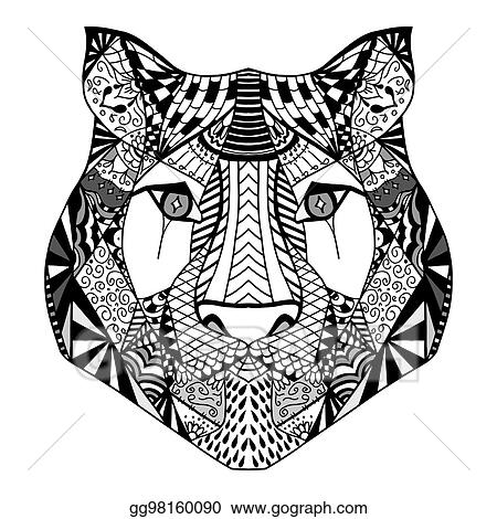 Lion head for anti-stress coloring page — Stock Vector © mazeina ... | 470x450