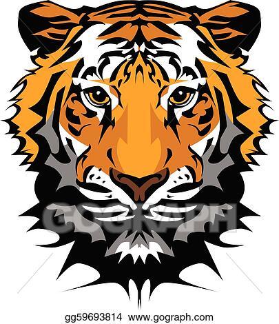 vector art tiger head vector graphic mascot clipart drawing rh gograph com clipart tiger head tiger head pictures clip art