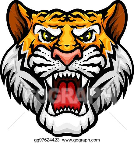 eps illustration tiger roaring head muzzle vector mascot icon rh gograph com