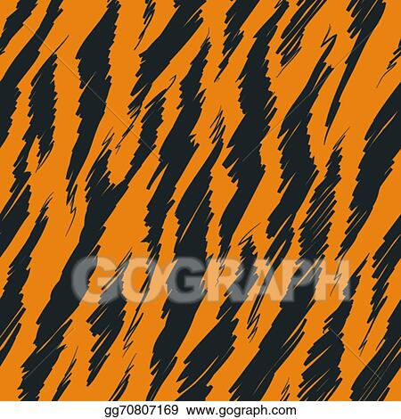 vector illustration tiger stripes skin seamless pattern stock