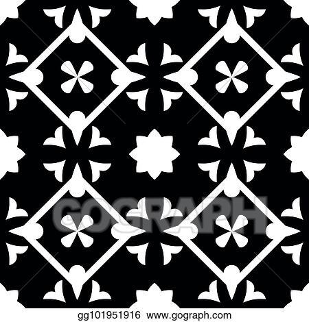 Vector Illustration Tile Black And White Decorative Floor Tiles