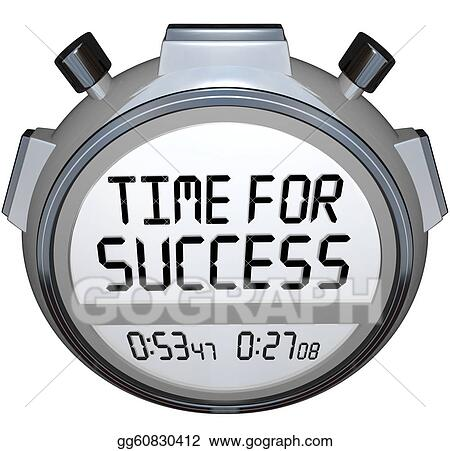 stopwatch clipart. stock illustration a stopwatch timer shows the words time for success indicating it is now moment to give your all in an effort achieve goal clipart