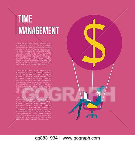 Vector Art Time Management Banner With Flying Woman Eps Clipart Gg88319341 Gograph