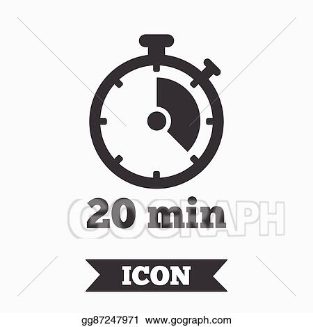 Vector Illustration - Timer sign icon  20 minutes stopwatch
