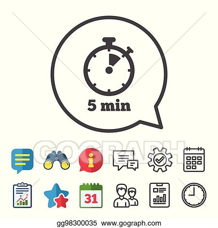 clip art vector timer sign icon 5 minutes stopwatch symbol stock
