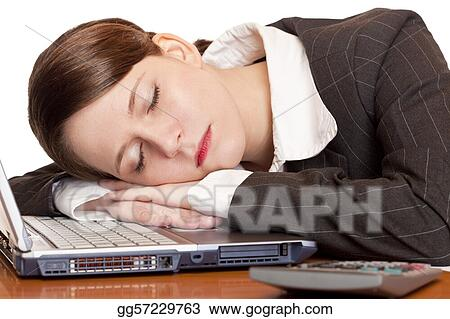Stock Images Tired Overworked Business Woman Sleeps In