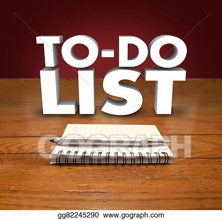 drawing to do list notepad words organize prioritize jobs tasks