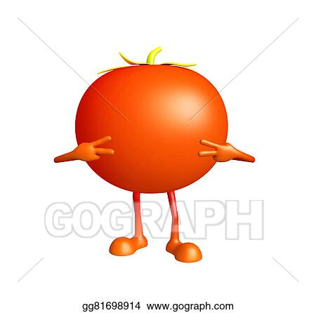 Drawing - Tomato character with win pose  Clipart Drawing