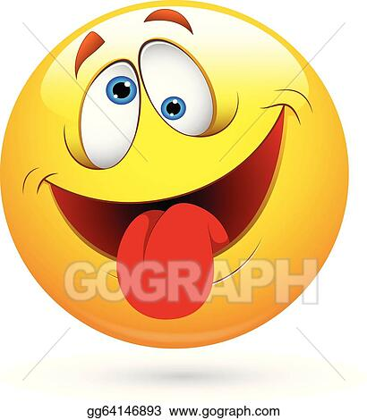 Eps Illustration Tongue Out Funny Smiley Face Vector Vector