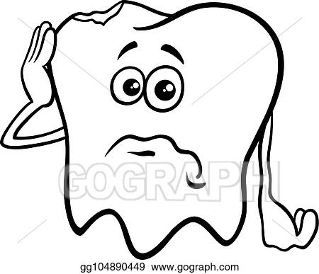 - Vector Illustration - Tooth Cartoon Character With Cavity Color Book. EPS  Clipart Gg104890449 - GoGraph