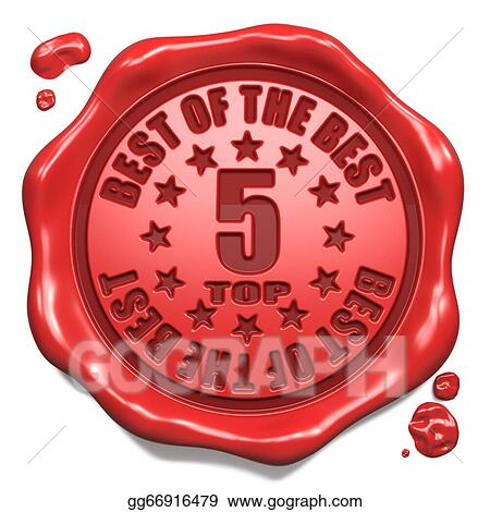 stock illustrations top 5 in charts stamp on red wax seal stock