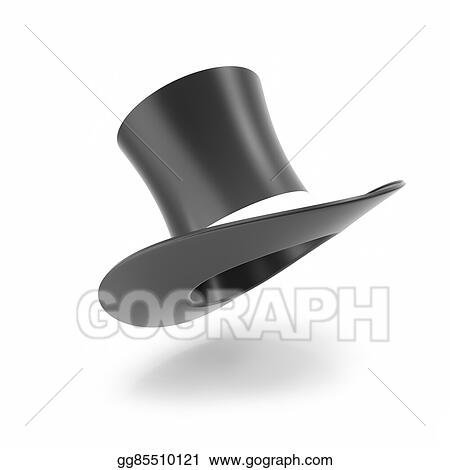 74ef1af7f35 Clip Art - Top hat with white ribbon isolated on white. Stock ...