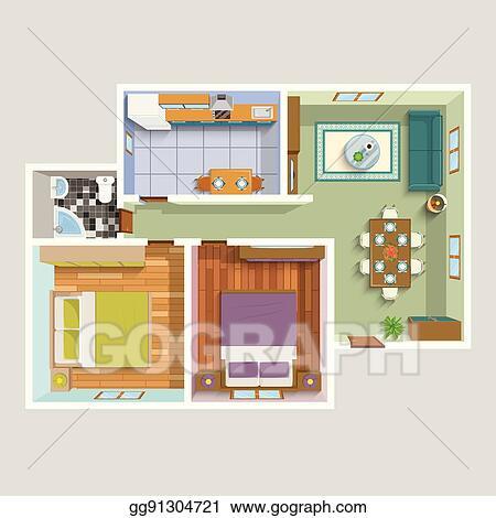 Top View Apartment Interior Detailed Plan