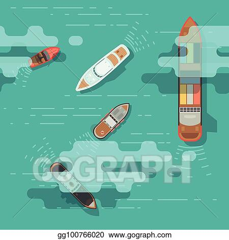 Vector Illustration - Top view sea ship and shipping boat on