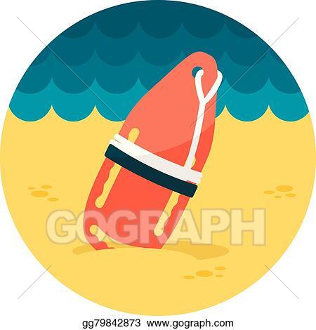 4c710eb58ada Clip Art Vector - Torpedo rescue lifeguard buoy flat icon. Stock EPS ...