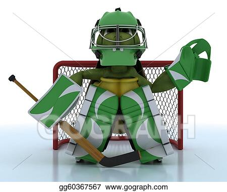 Drawing Tortoise Playing Ice Hockey Clipart Drawing Gg60367567