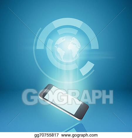 Vector Art - Touch screen mobile phone with hologram of
