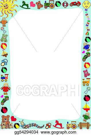 Vector Illustration Toys Border Eps Clipart Gg54294034 Gograph