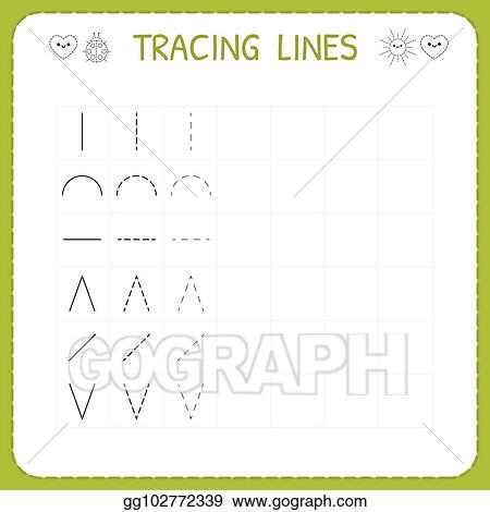 Vector Stock - Trace line worksheet for kids  working pages for