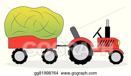 vector art tractor and hay wagon eps clipart gg81998764 gograph rh gograph com Barn Clip Art hay wagon clipart