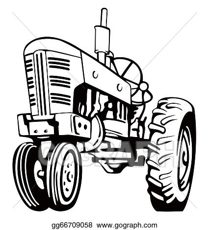 stock illustration tractor black and white clipart illustrations rh gograph com
