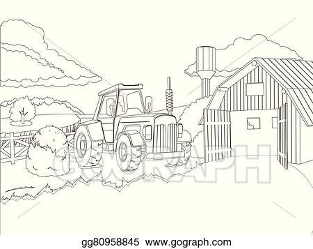 Vector Stock - Tractor on the farm coloring book vector. Stock Clip ...