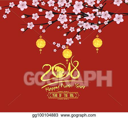 Traditional Chinese New Year Blossom And Lantern Background Of The Dog